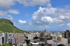 从观察台的都市风景视图堡垒的阿德莱德,路易港,毛里求斯 免版税库存照片