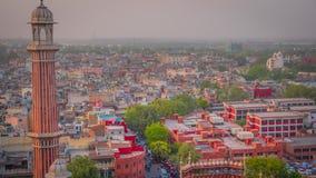 从贾玛清真寺清真寺的月光集市鸟瞰图在老德里,印度 免版税图库摄影