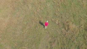 从跑在匈牙利草甸的一个人的空中英尺长度 股票视频