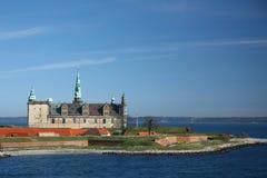 从轮渡观看的克伦堡城堡到瑞典 图库摄影