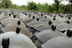 从轮胎的被回收的容器 免版税图库摄影