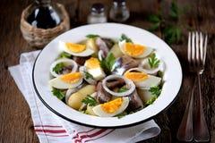 从轻盐味的鲱鱼、煮的土豆、鸡蛋和葱的沙拉与橄榄油和柠檬汁 土气样式 库存图片