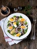 从轻盐味的鲱鱼、煮的土豆、鸡蛋和葱的沙拉与橄榄油和柠檬汁 土气样式 免版税库存图片