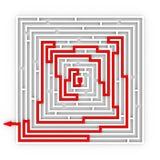 从迷宫的红色路径。 正确的方式。 库存照片