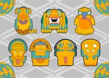 从部落南美洲的人和动物形象 免版税库存图片