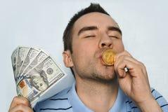 从采矿bitcoin和收入bitcoin的增长率赢利 库存照片