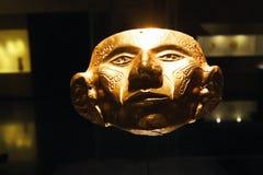 从金子做的玛雅人面具 免版税图库摄影