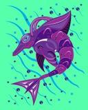 从金属的紫罗兰色海豚在海 库存图片