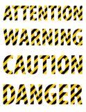 从镶边信件的注意小心危险警告文本以一卷防护黄色黑磁带的形式 奶油被装载的饼干 Vecto 库存图片