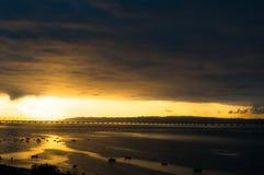 从阳台的日落Alcochete 图库摄影