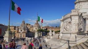 从阿尔塔雷della帕特里亚,威尼斯广场,罗马意大利的前面看法 图库摄影