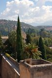 从阿尔罕布拉宫,格拉纳达,西班牙的城楼的看法 库存照片