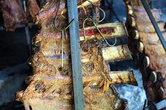从阿根廷传统bbq的传统阿根廷asado烤肉从阿根廷巴西巴拉圭乌拉圭和辣椒 库存照片