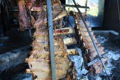 从阿根廷传统bbq的传统阿根廷asado烤肉从阿根廷巴西巴拉圭乌拉圭和辣椒 免版税库存照片