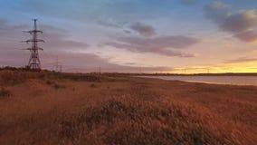 从降低芦苇寄生虫的鸟瞰图调遣接近湖 影视素材