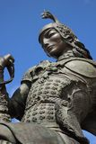 从雕刻的合奏`沙皇狩猎`的Scythian国王由Buryat雕刻家大士Namdakov在Tyva克孜勒共和国城市 免版税库存照片