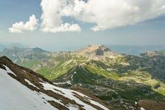 从雪朗峰的看法瑞士阿尔卑斯山脉的 库存图片