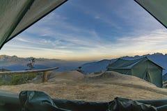 从露营地的完善的看法 库存照片