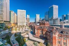 从顶视图的东京站在东京 库存照片