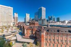 从顶视图的东京站 免版税图库摄影