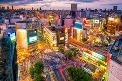 从顶视图的涩谷横穿在东京 库存照片