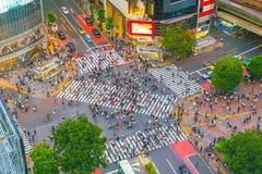 从顶视图的涩谷横穿在东京 免版税库存照片