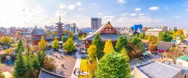 从顶视图的Sensoji寺庙 库存图片