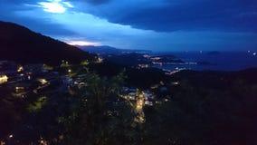 从顶面小山的日落 免版税图库摄影