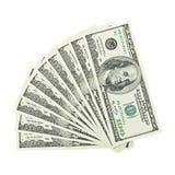 从顶面爱好者美国金钱的看法在白色背景裁减路线隔绝的一百元钞票 堆美国100钞票 免版税库存照片