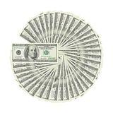 从顶面爱好者美国金钱的看法在白色背景裁减路线隔绝的一百元钞票 堆美国100钞票 图库摄影