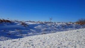 从领域的随风飘飞的雪在路的边有多雪的阵风的 往照相机的微风吹的雪 股票录像