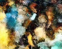 从颜色混乱被弄脏的斑点的抽象难看的东西背景掠过不同的大小冲程在织地不很细帆布的 免版税库存照片