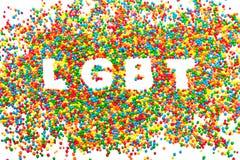 从颜色的球的词LGBT 免版税库存图片