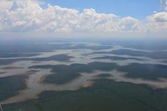 从飞机的看法在伊瓜苏地区在阿根廷 免版税库存图片