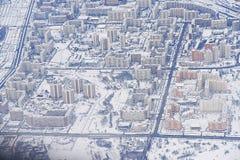 从飞机的航空照片莫斯科 库存照片