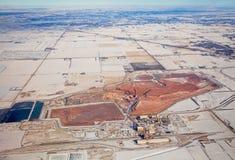 从飞机的高度观看的钾盐矿 免版税库存照片
