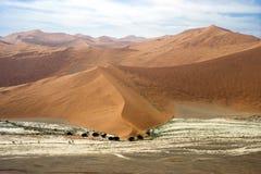 从飞机-看见的Sossusvlei沙漠 免版税库存图片