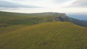 从飞行寄生虫人上的空中风景山的绿色草甸的 影视素材