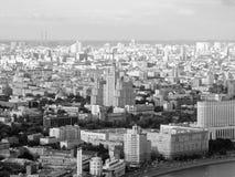 从飞行高度的一个大城市 免版税库存图片