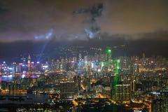 从香港的夜都市风景 免版税库存照片