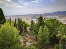 从马拉加太阳海岸anda城市的alcazaba的看法 库存图片