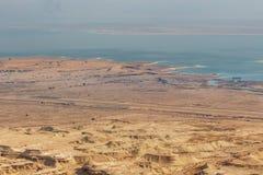 从马萨达堡垒,国立公园,犹太,以色列的看法, 免版税库存图片