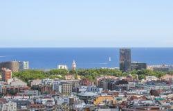 从高度的城市风景 巴塞罗那 免版税库存照片