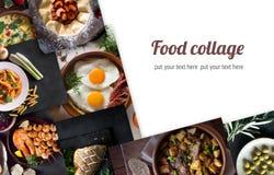 从鲜美食物的不同的图片的拼贴画 复制您的文本的空间 库存照片