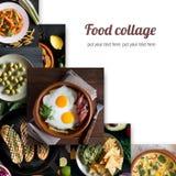 从鲜美食物的不同的图片的拼贴画 免版税图库摄影