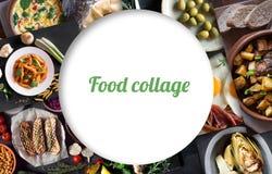从鲜美食物的不同的图片的拼贴画 库存照片