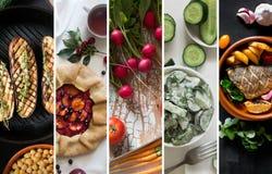 从鲜美食物的不同的图片的拼贴画 免版税库存照片
