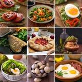 从鲜美食物的不同的图片的拼贴画 图库摄影