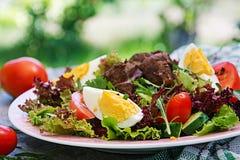从鸡肝、蕃茄、黄瓜和鸡蛋的温暖的沙拉 库存照片