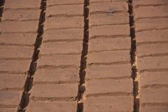从黏土的自制砖 库存照片
